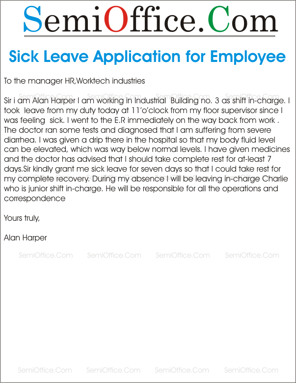 Sick Leave Application Letter Format for Office – Application for Leave