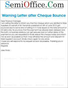 Warning Letter after Cheque Bounce