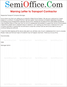 Warning Letter to Transporter from School