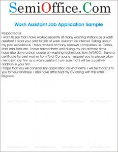 Wash Assistant Job Application Sample