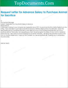 Application for Advance Salary for Sacrifice of Animal on Eid ul Adha