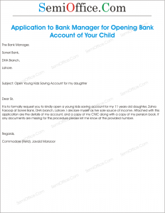Application to Bank Manager for Opening Account