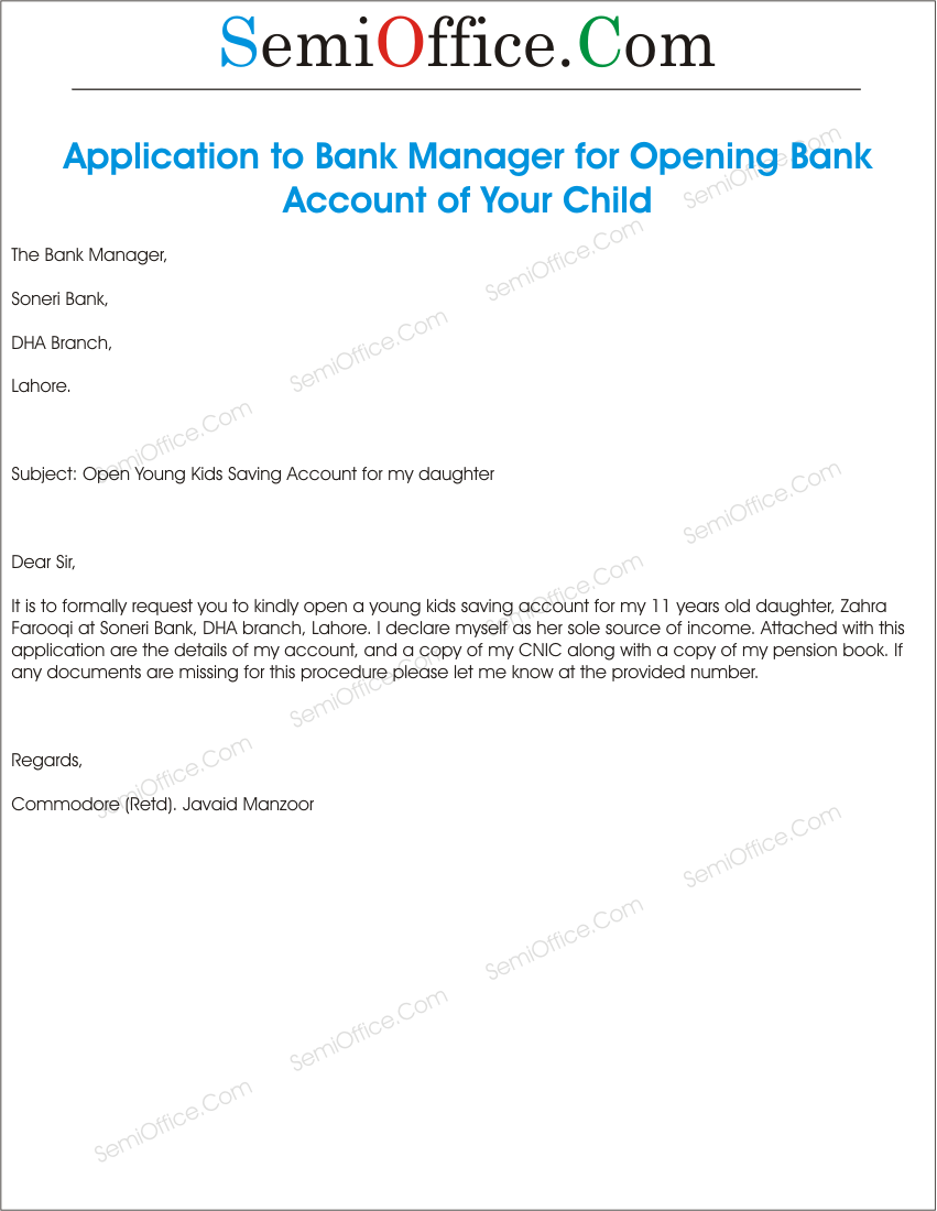 Sample Letter To Open A Joint Bank Account Cover Letter