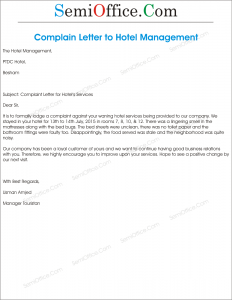 Complaint Letter to Hotel Management