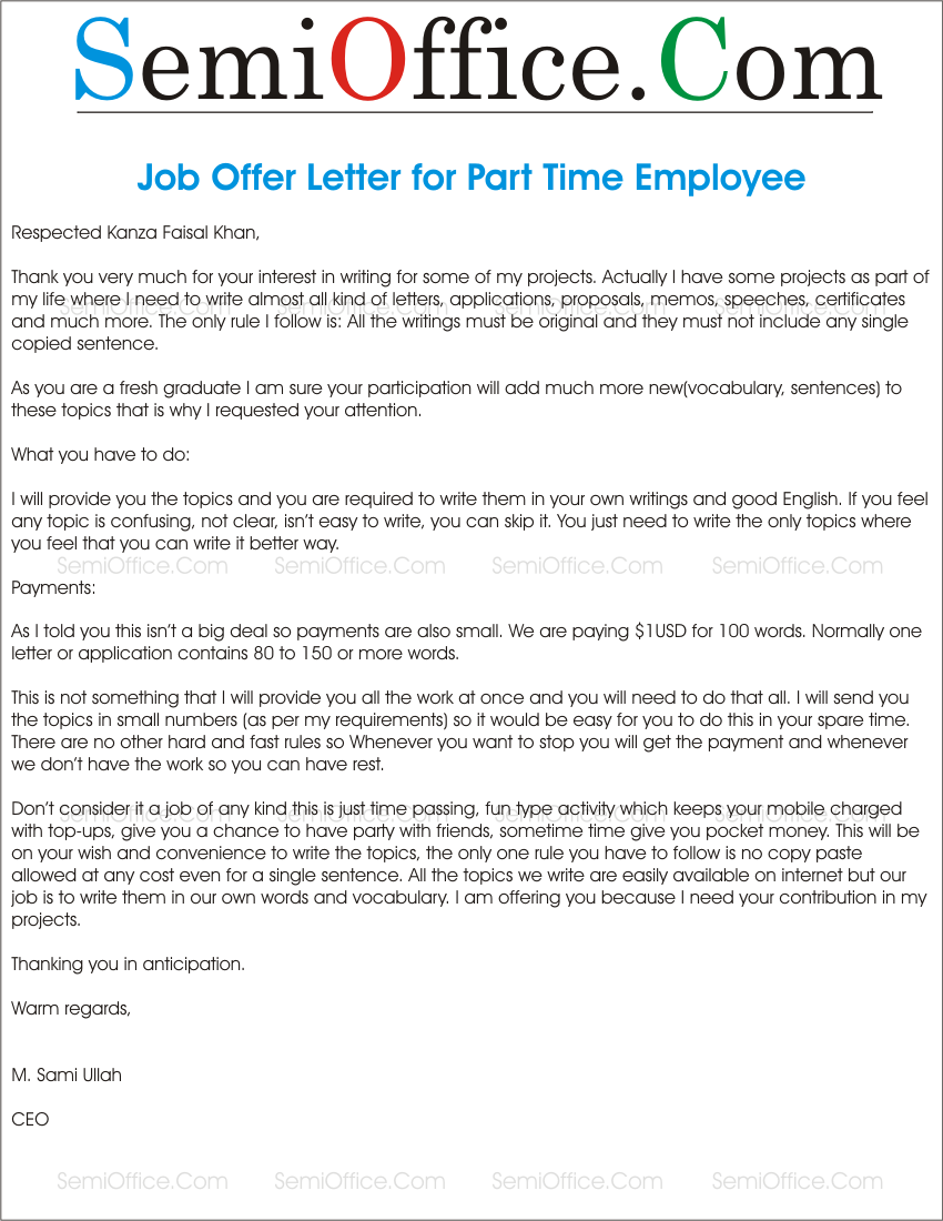 part time employment essay Part time work and school – essay sample it is clear that part time employment enhances students' school life and makes them better prepared for the life.