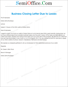 closings for business letters office closing reason for business loss letter format 20873