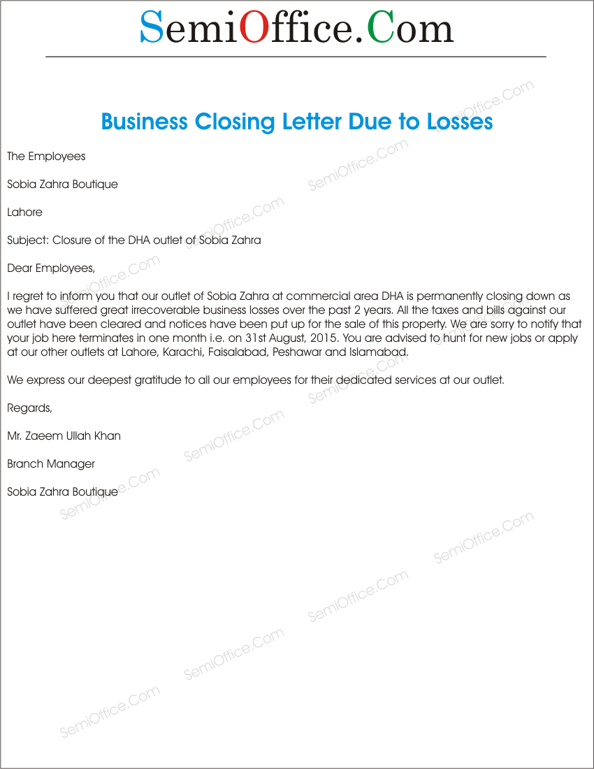 Office Closing Reason for Business Loss Letter Format – Closing Business Letter Sample