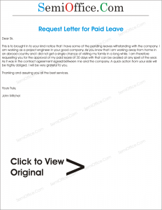 Application Letter for Paid Leave