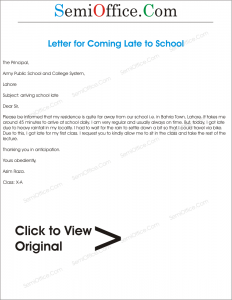 Application for Coming Late to School