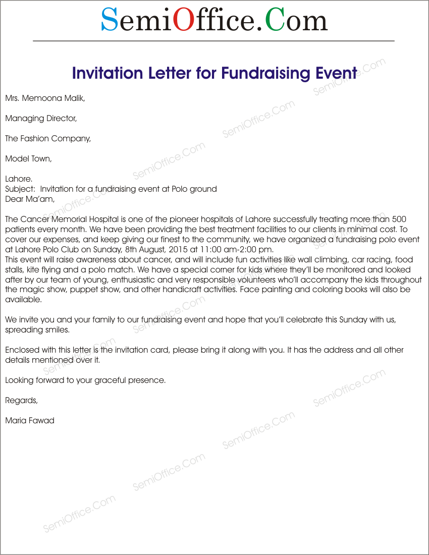 Invitation letters templates for events ceremonies customers invitation letter for fundraising event sample stopboris Choice Image