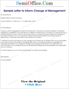 Sample Letter to Inform Change of Management