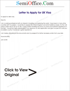 Sample Visa Application Letter for UK
