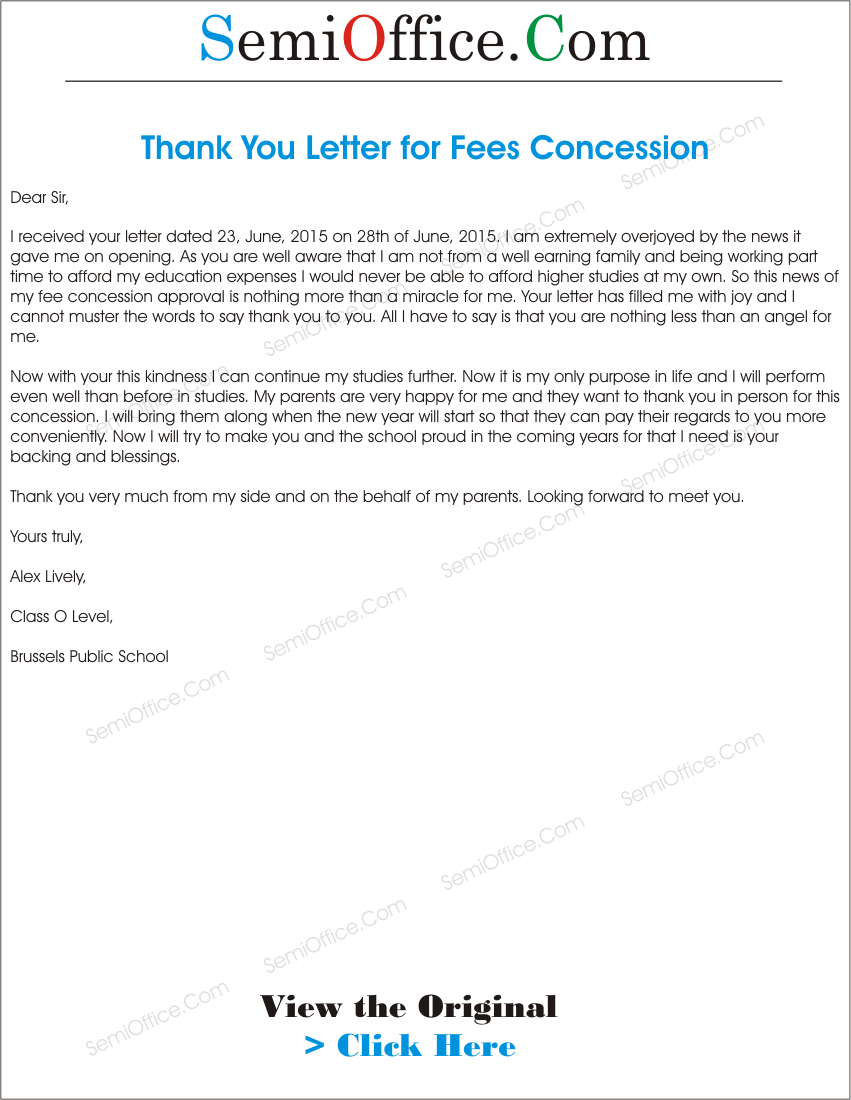 Letter To College Principal For Fee Concession