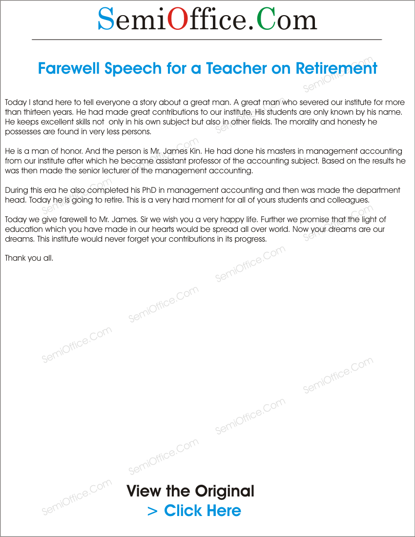 retirement speech template - farewell speech for a teacher on retirement semioffice com