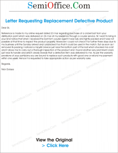 Letter for Replacement of Products Found Defective