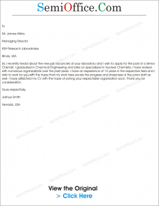 Job Application Letter for the Post of Senior Chemist