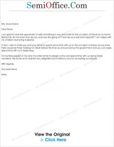 invitation letter for diwali celebrations