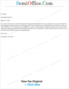 Leave Application letter for Diwali