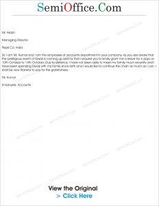 Leave Application letter for Diwali